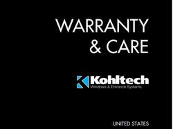 Kohltech Warranty & Care Brochure - United States