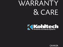 Kohltech Warranty & Care Brochure - Canada