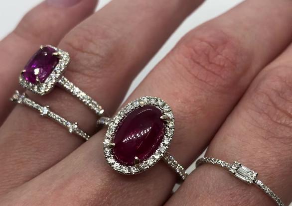 Pink Sapphire & Rubelite Tourmaline Rings