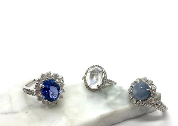 Sapphire, Moonstone, & Star Sapphire Rings