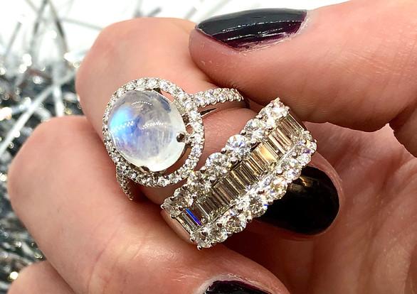 Moonstone Diamond Halo Ring