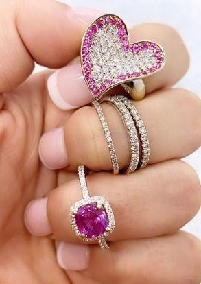 Pink Sapphire & Diamond Heart Rings