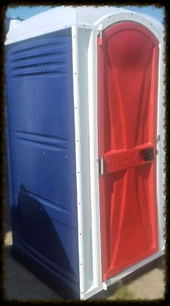 red whit and blue porta potty