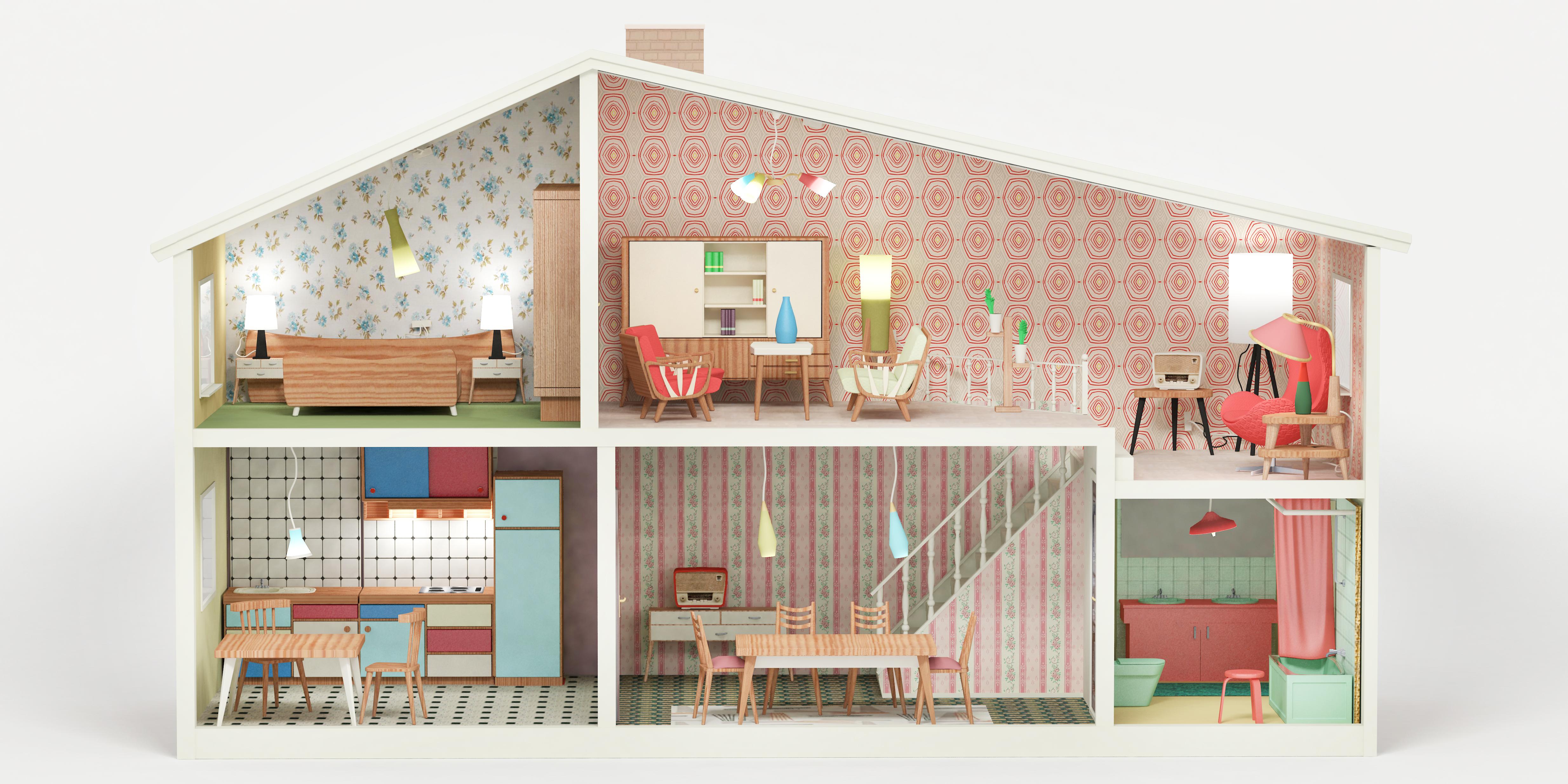 1950 Interior Design Dollhouse