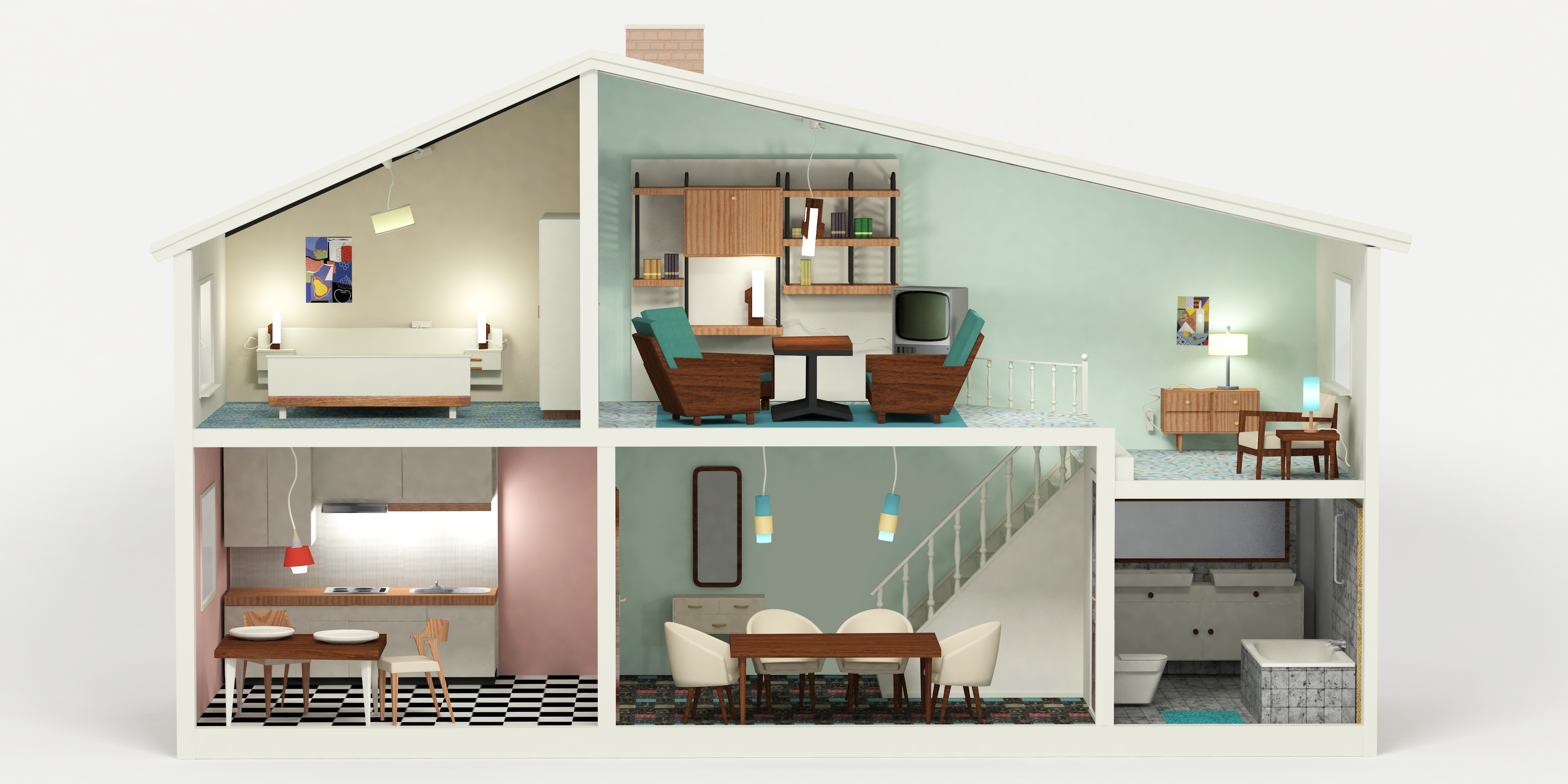 1960 Interior Design Dollhouse