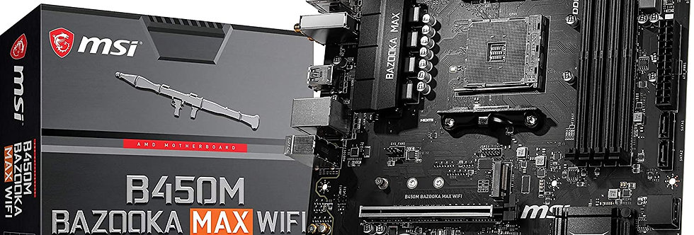 MSI B450M BAZOOKA MAX WI-FI w/ DDR4-2666, 7.1 Audio, M.2, Gigabit LAN, 802.11ac