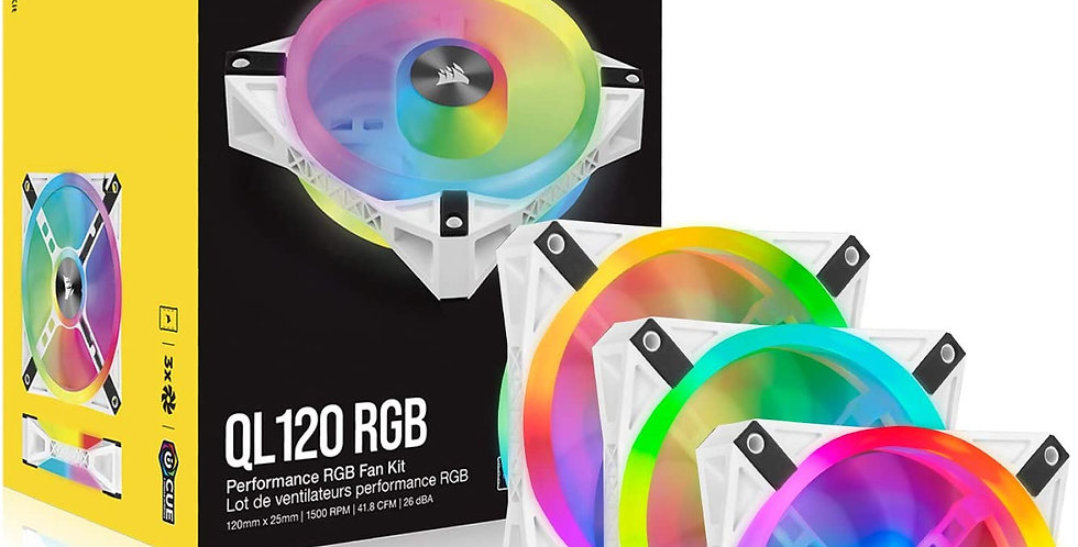 CORSAIR iCUE QL120 RGB 120mm PWM White Fans, Triple-Fans Kit with Lighting Node