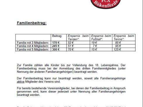 FC Alemannia Bökenförde führt Familienbeitrag ein