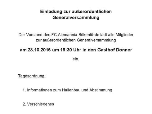 Einladung - Außerordentliche Generalversammlung