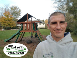 Schott Services provides swing set remoal service. And, removeds playground euipment, trampolinces, outdoor play sets, tree houses in Indianapolis.