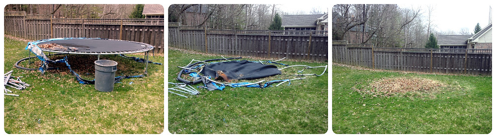trampoline removal, junk removal, trash removal, haul away services, demo services, tear down trampoline, Schott Services, John Schott