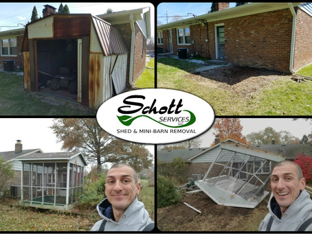 Awesome! Metal Shed Removal & Outdoor 3 Season Room Demolition!!!