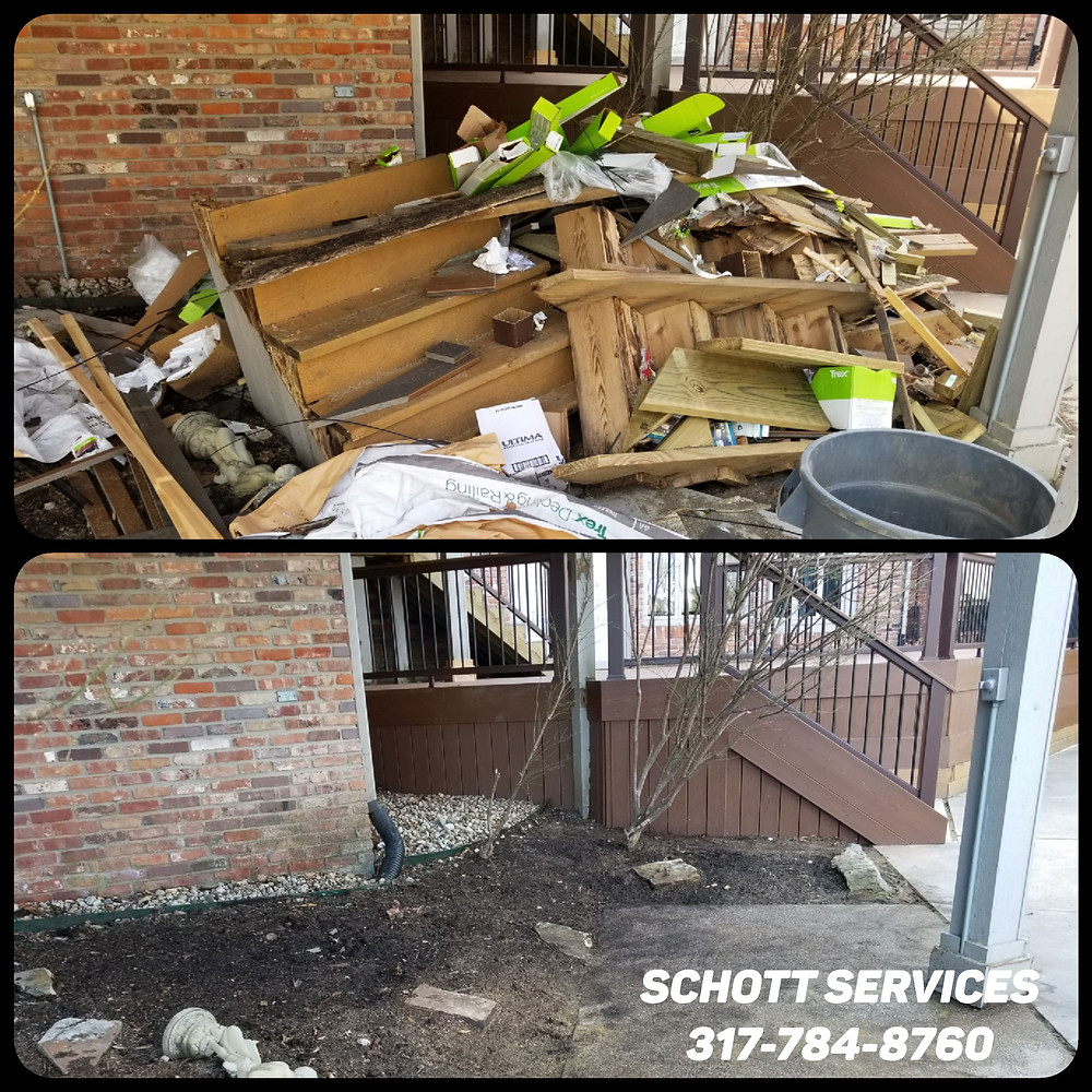 construction junk removal, junk removal services Fishers, haul away junk, trash pickup, Schott Services, John Schott