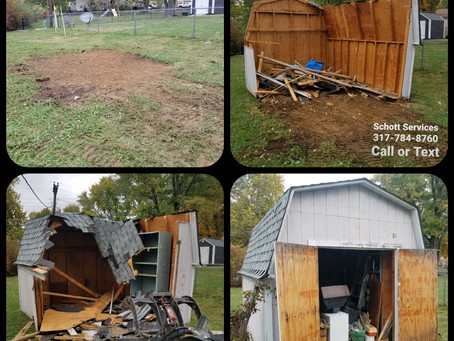 Mini barn full of junk to removed for new home buyer!