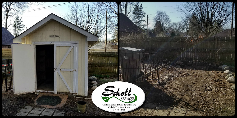 Shed removal Indianapolis, mini barn removal, junk removal, light demolition, light hauling