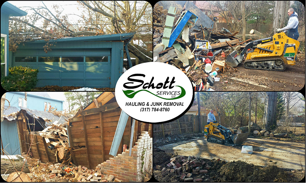 garage tear down, garage haul away, garage demoltion, mini barn demolition, mini barn demo, shed demo, hauling, junk removal, concrete removal, debris removal, brush removal, fallen tree removal,