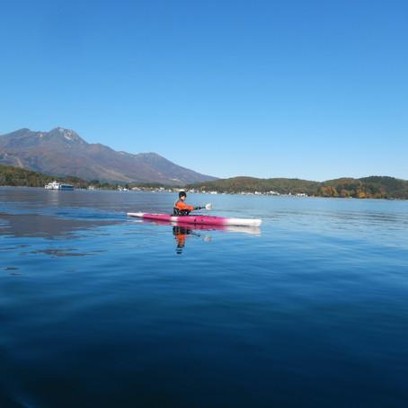 野尻湖で漕ぎこむ