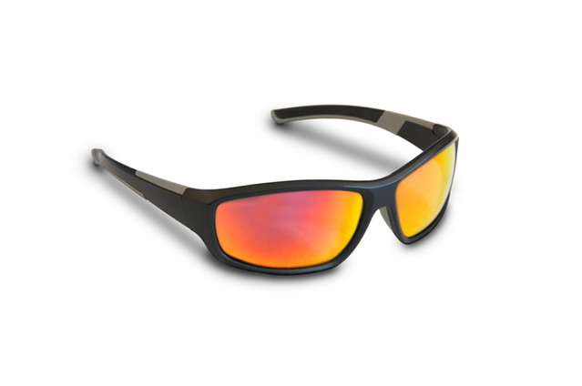 Reflective orange sunglasses.