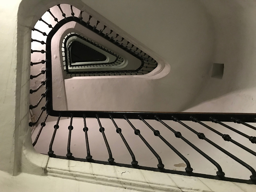 A spiral staircase leading to the mystery in Turin, Italy