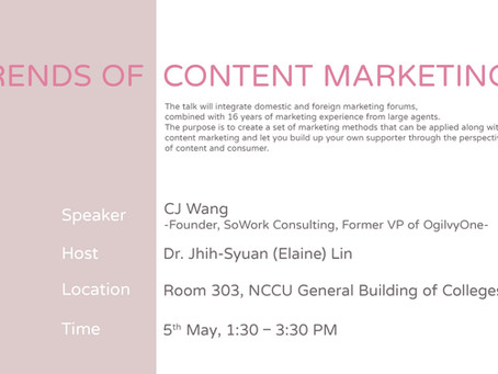 Invited Talk on Trends of Content Marketing