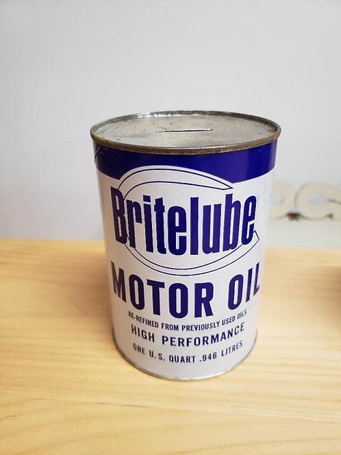 Vintage 1970's Bank Oil Can Blue