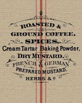 GRAIN SACK- Roycycled Decoupage Paper-Vintage Coffee Spices Kitchen Theme Print