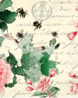 Roycycled Decoupage Paper - CHERRY BLOSSOMS- Vintage Postcard Floral Bee Print