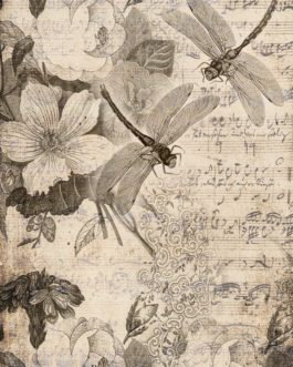 Roycycled Decoupage Paper - MUSICAL DRAGONFLIES -Floral Sketch Art & Sheet Music