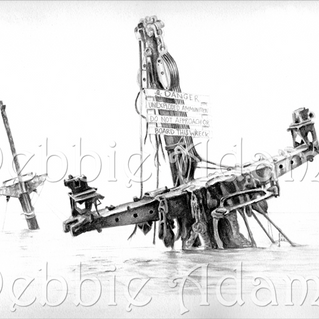 Black and white water-colour print of the SS Richard Montgomery