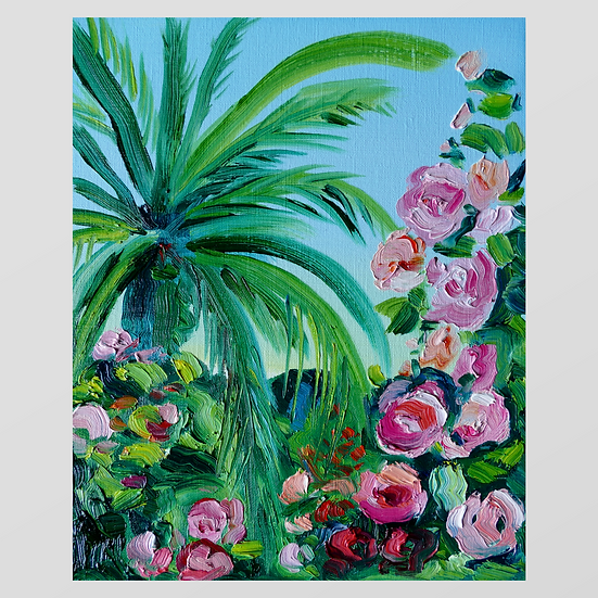 PALM TREE WITH ROSES