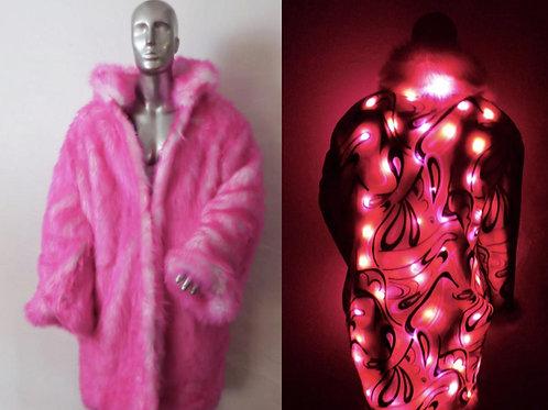 Light Up Faux Fur Coat Pink Psychedelic LED Coat