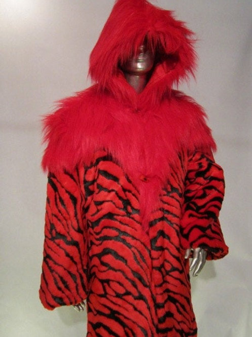 Furry Red and Black Coat - Red Liger Burning Man Faux Fur Jacket