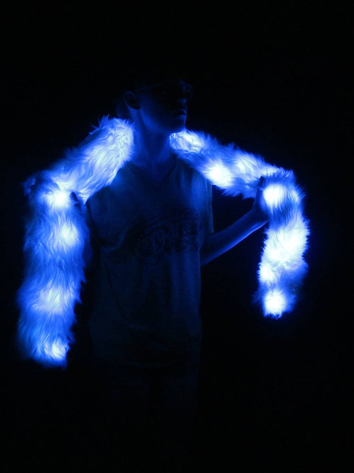 Light Up Faux Fur Boa  BLUE LEDs White Fur LED Scarf
