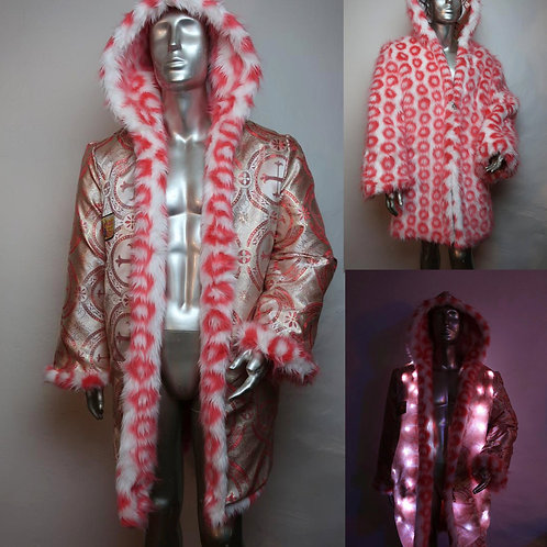 Faux Fur Light Up Coat - Salmon Circles Light Up Coat with LEDs