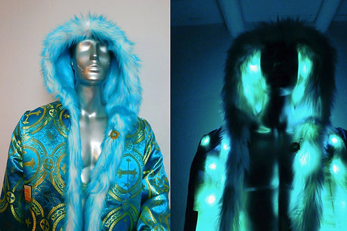 Teal Blue Light Up Fur Coat -  Burning Man Faux Fur Coat Brocade Interior