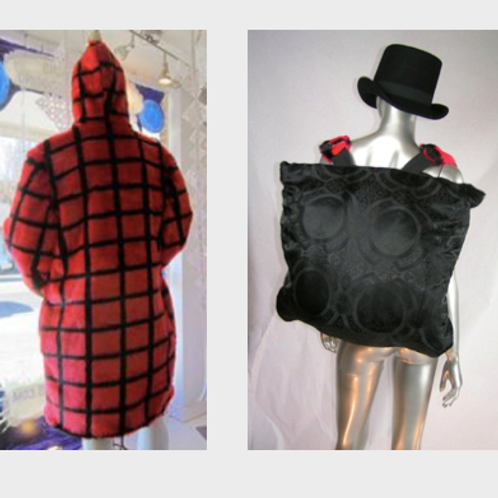Reversible Burning Fur Coat - Red and Black with built in backpack