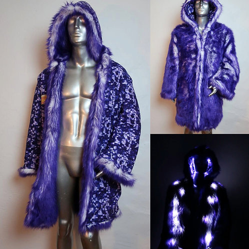 Faux Fur LED Coat - Purple with Lights and Backpack Option