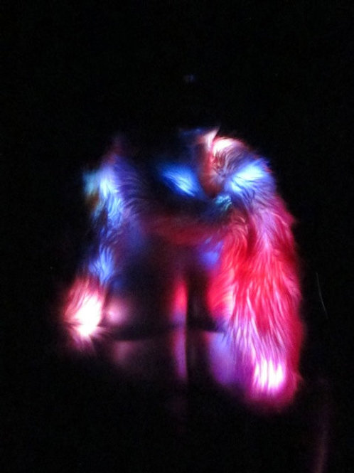 Light Up Boa - Blue Pink Purple Faux Fur with Multi Colored lights