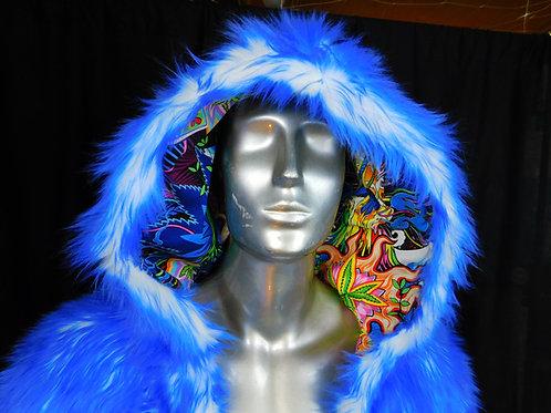 LED Faux Fur Light Up Coat Mandalas Skulls and Marijuana - SMALL