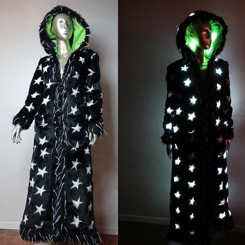 Ladies LED  Faux Fur Coat Black Light Up Stars and Spikes