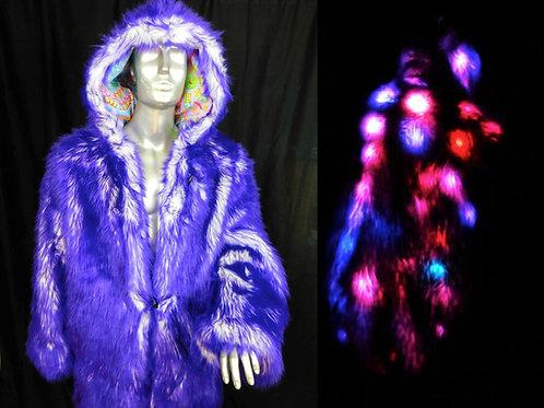 Faux Fur LED Coat Purple Candy - Purple Light Up Coat with Hood