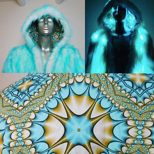 Aqua Psychedelic Faux Fur Light Up Coat with Backpack Option