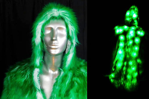 Light Up Faux Fur Coat - Green Faux Fur LED Coat