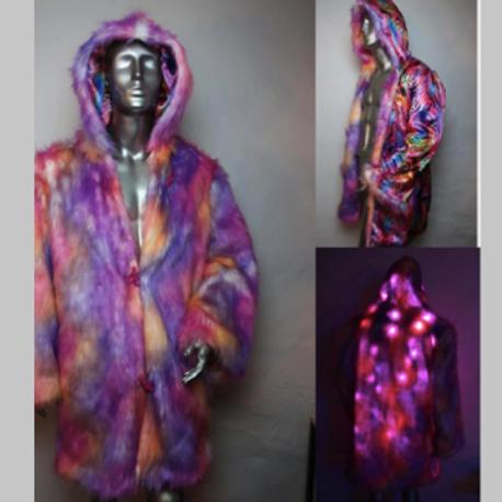 Light Up Faux Fur Coat - Rainbow Sherbet Psychedelic LED Fur Coat