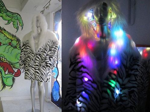 White Lion Tiger Light Up Coat Graffiti print satin interior