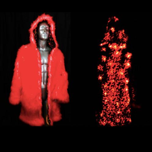 Red Fur Light Up Coat - Flames Interior