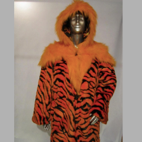 Tiger fur light up coat - Burning Man LED Coat -  Backpack Option