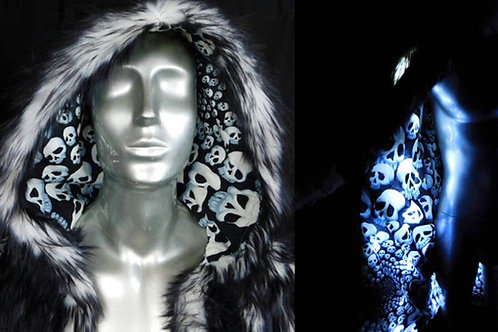 Burning Man Coat - Light Up Coat - Black fur  - Limited Edition Skullfinity