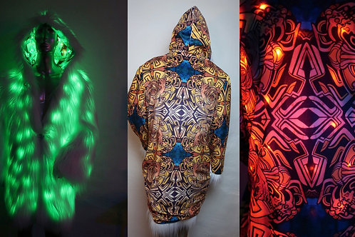Light up Faux Fur Coat - Artist Interior Burning Man Coat - FreeRolando