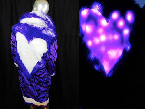Purple  Ligeress Light Up Coat  -Light Up Heart Fur Coat